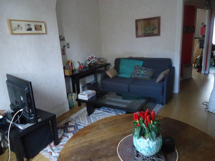 Salon avec canapé lit 2 places- Table pour manger à 4 + TV