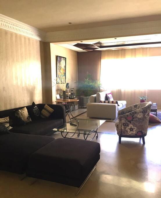 Double salon confortable avec écran plasma avec câble, grande fenêtre donnant sur terrasse, cheminée et air conditionné