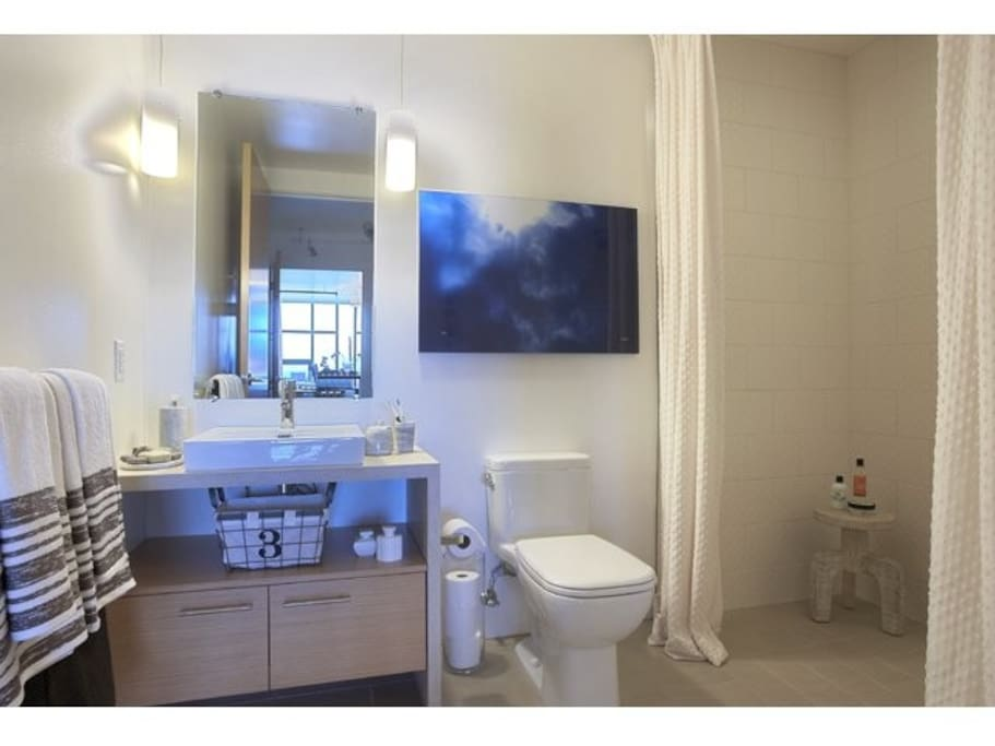 Bathroom w/ large shower.