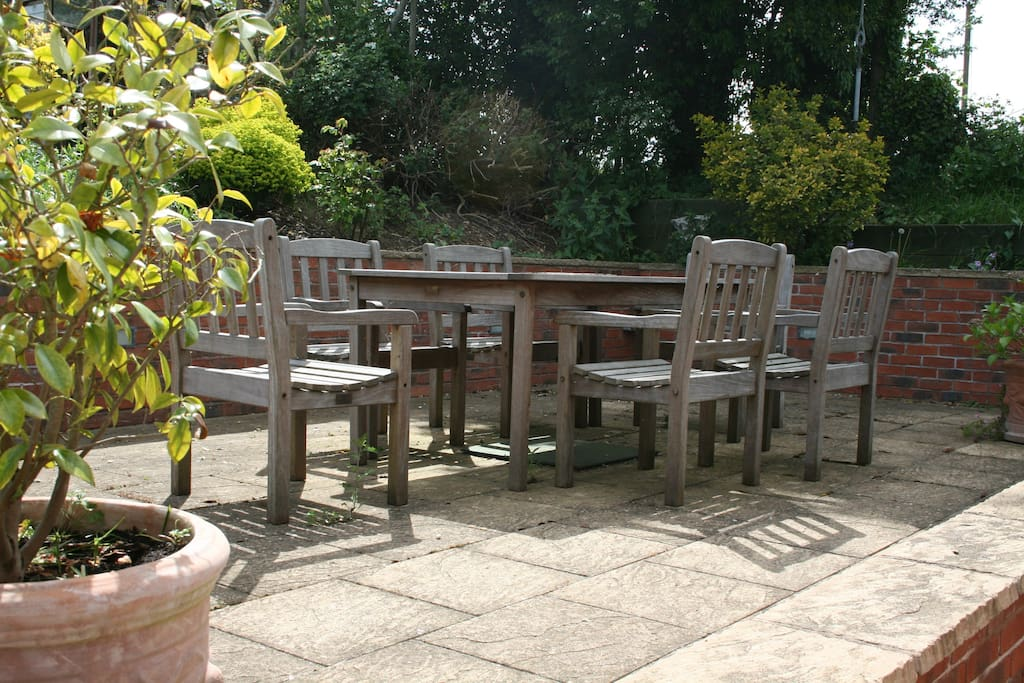 Our sunny patio where you can relax and enjoy afternoon tea.