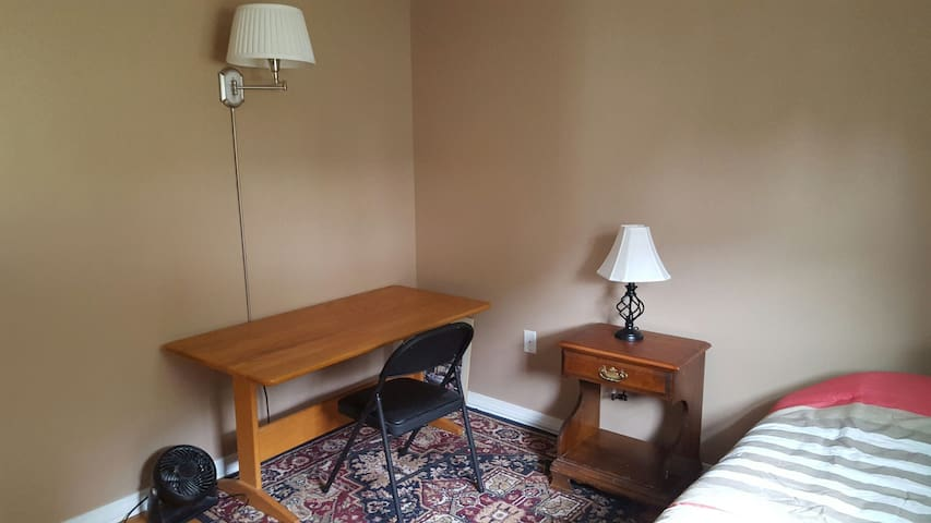 Fan, wood desk, night table with lamp, lamp on wall, etc.