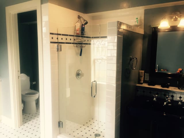 Stall shower and separate toilet room