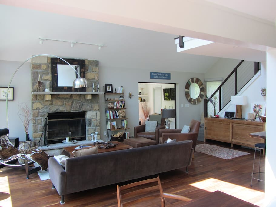 Main living area with stone fireplace