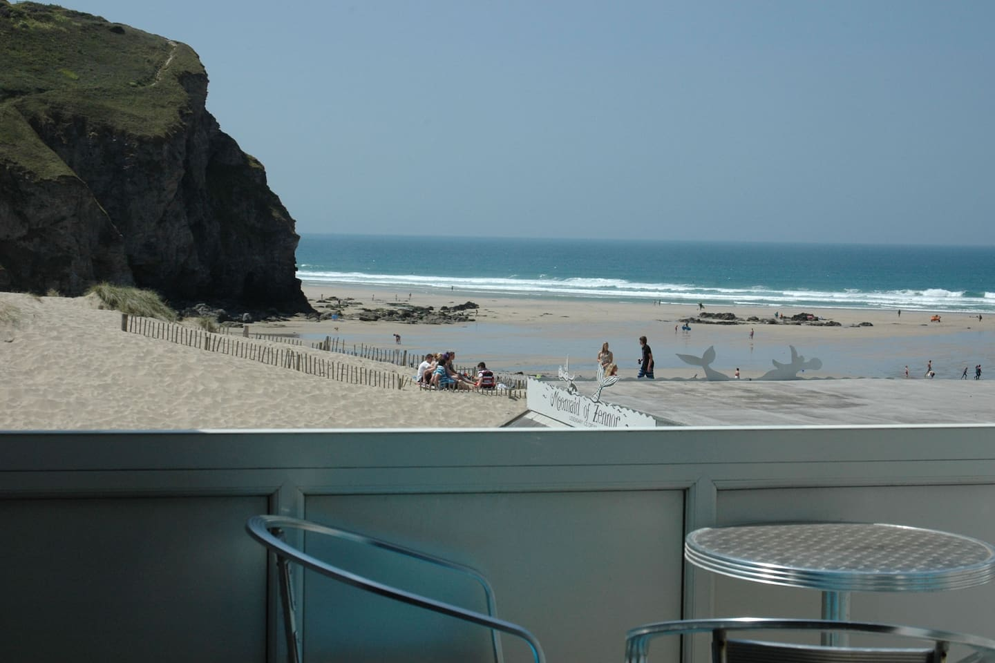 This is the sea view, directly from the balcony of our flat in Porthtowan, Cornwall.
