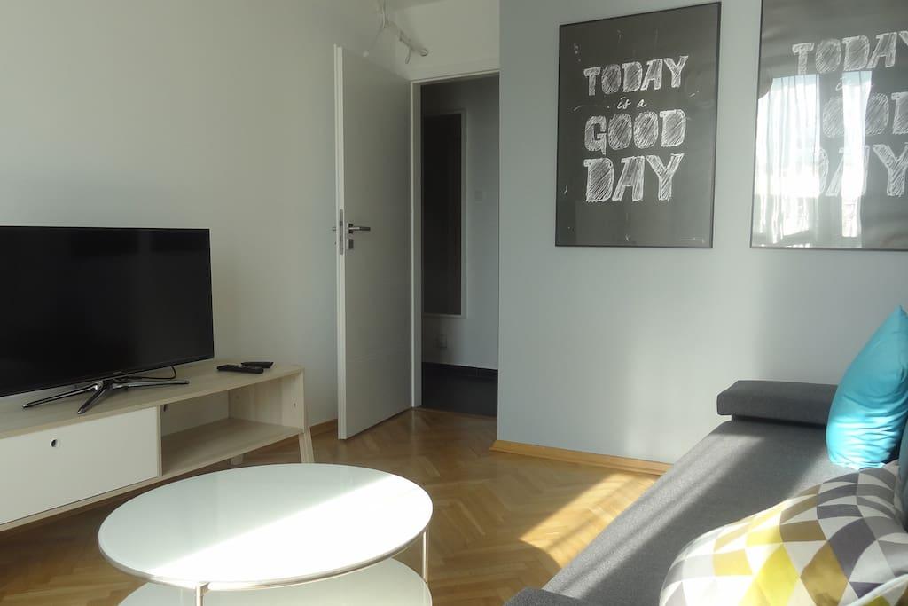 Salon z kanapą dwuosobową
