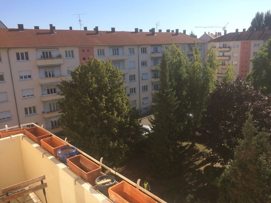 Balcon avec grand espace vert