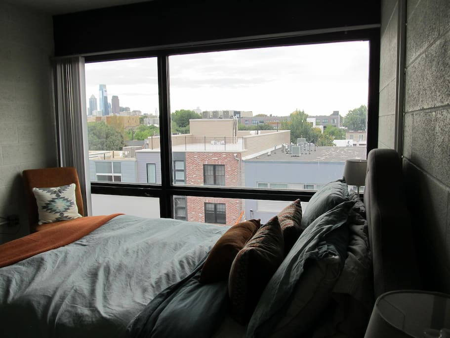 Master bedroom with beautiful Center City view.