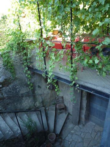 la cour depuis la terrasse