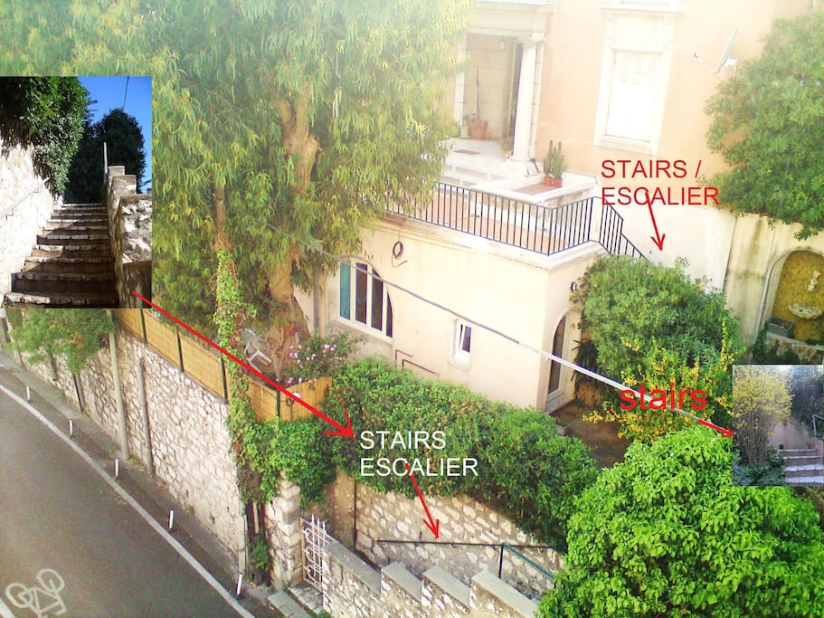 Villa Rima is on a little hill, the appartment 2 is on the terrace floor, but you have 2 stage outside stairs to reach it