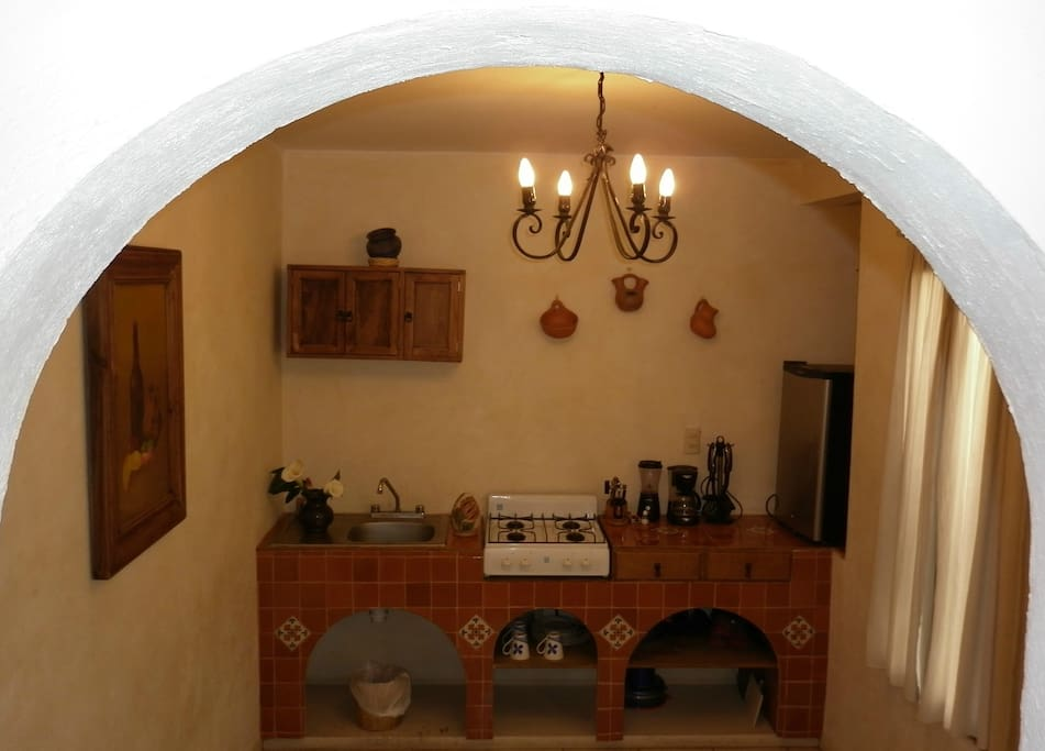 Kitchen with Mexican tile made by hand