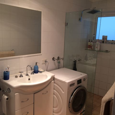 Bathroom w. washing machine/dryer
