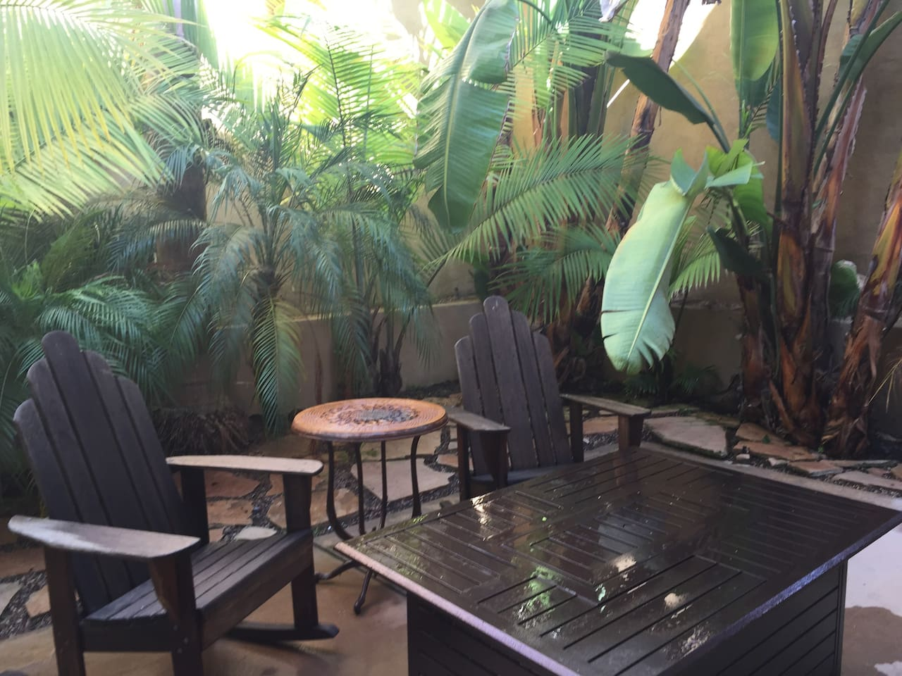 Enjoy relaxing in the tropical patio.
