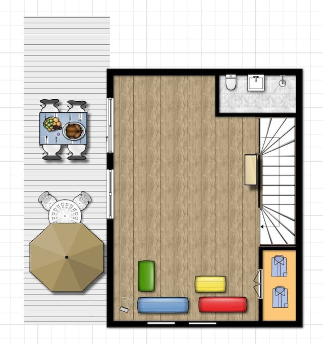 2층 평면도. 거실 겸 방으로 사용 가능. 외부에 넓은 테라스에서 강변과 시내 조망