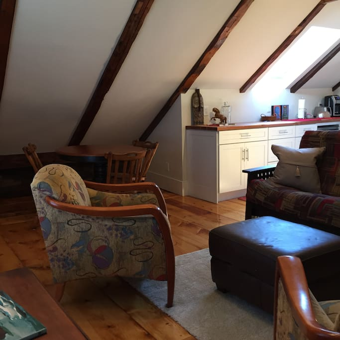 Our cozy sitting room is a great place to plan your day in Acadia National Park.