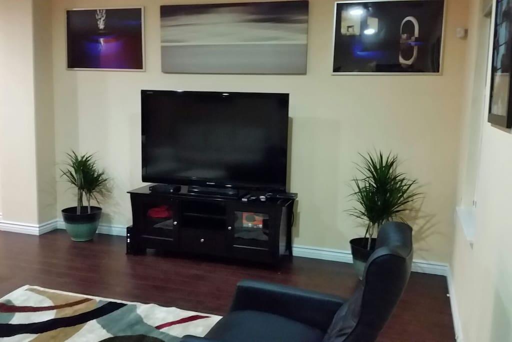 The 62 inch flat screen 1080p Smart HDTV has Roku, Amazon Prime, Netflix,  Vudu, Hulu, ESPN,  HBO and much more.