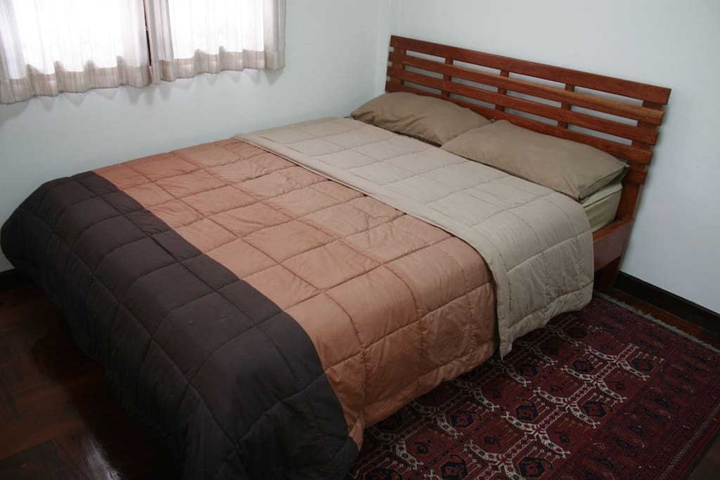 Comfortable queen bed for 2 with Afghan Carpet