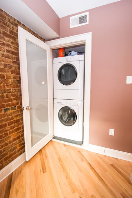 In unit washer/dryer conveniently located in the Master Bedroom