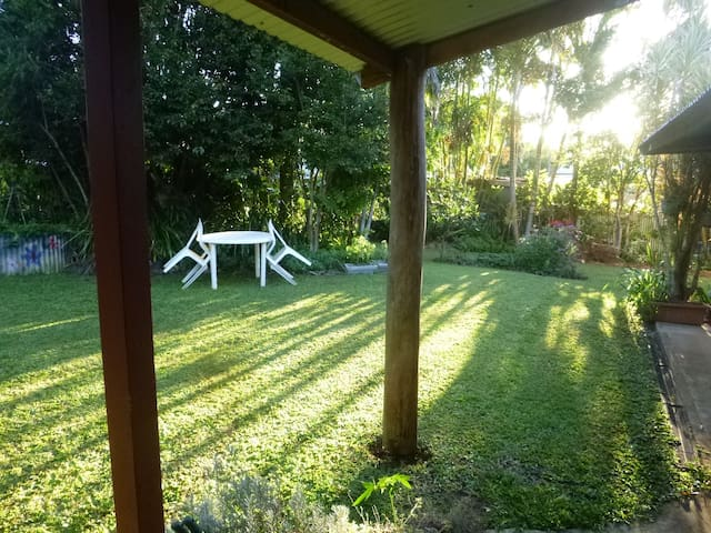 very quite feeling of seclusion in the backyard...