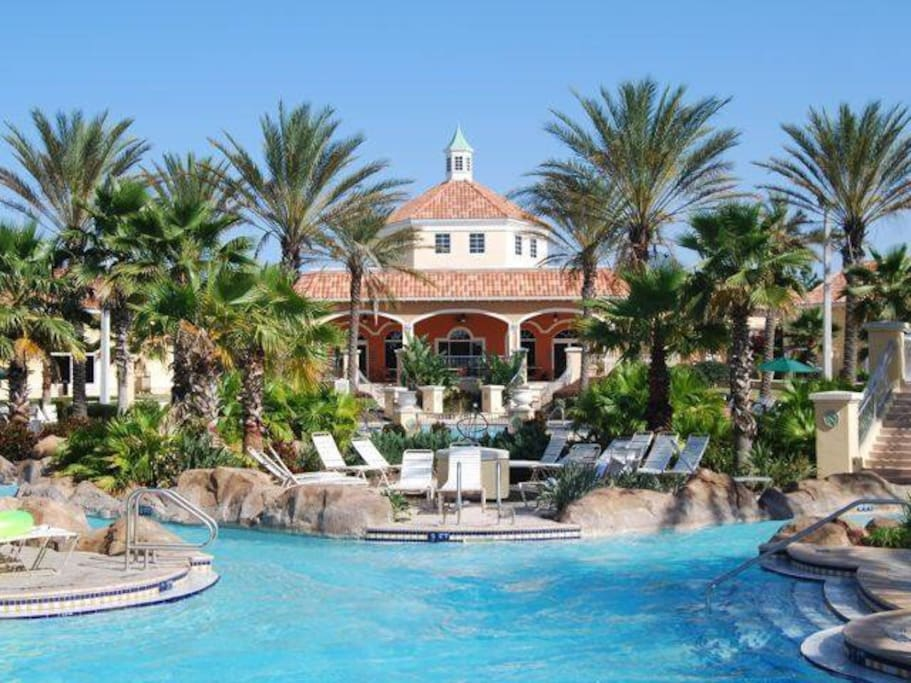 Regal Palms offers a pool, lazy river, water slide, outdoor and indoor hot tub, tiki bar, volleyball, arcade, playground, and onsite restaurant bar and grill.