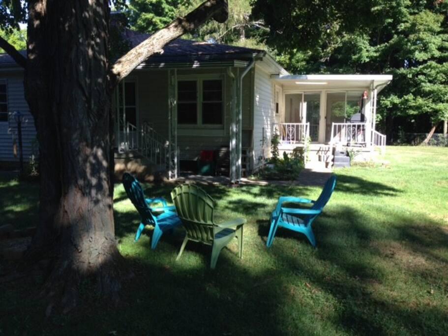 Peaceful backyard gathering spot