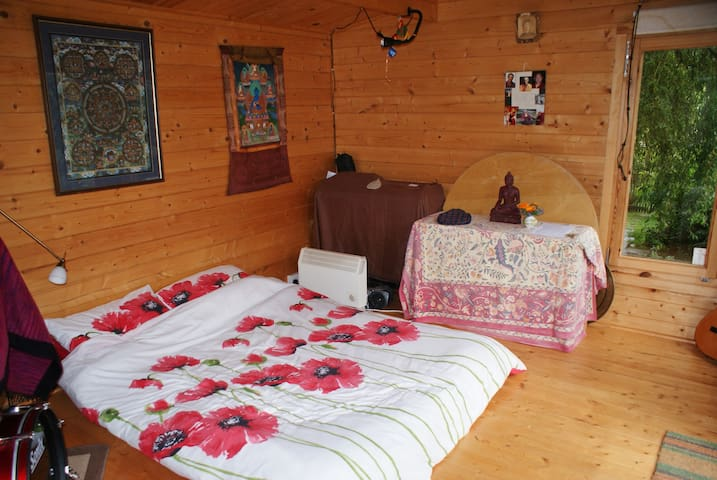 View of double futon inside the cabin