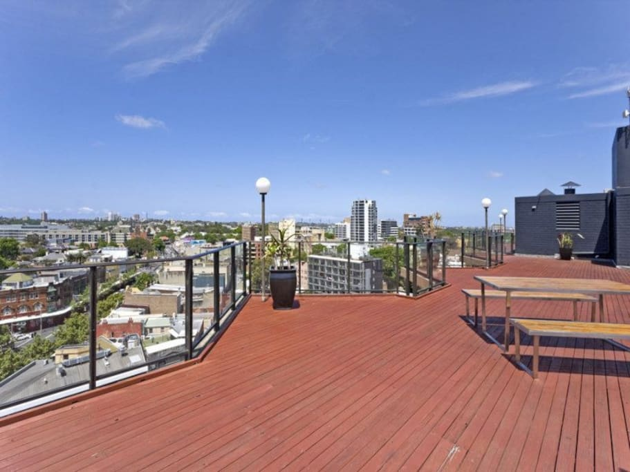 Rooftop barbecue area with 360 degree views