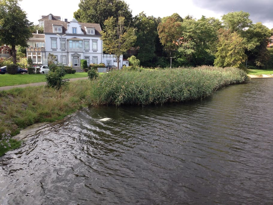 The apartment is on the lower floor with direct access to park &  Yachtharbour at the riverside