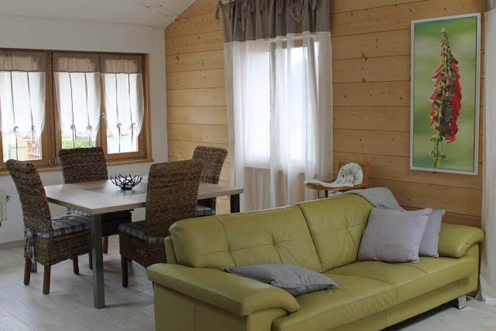 Grande pièce à vivre lumineuse, 2 canapés, poêle à bois, cuisine ouverte, accès terrasse.