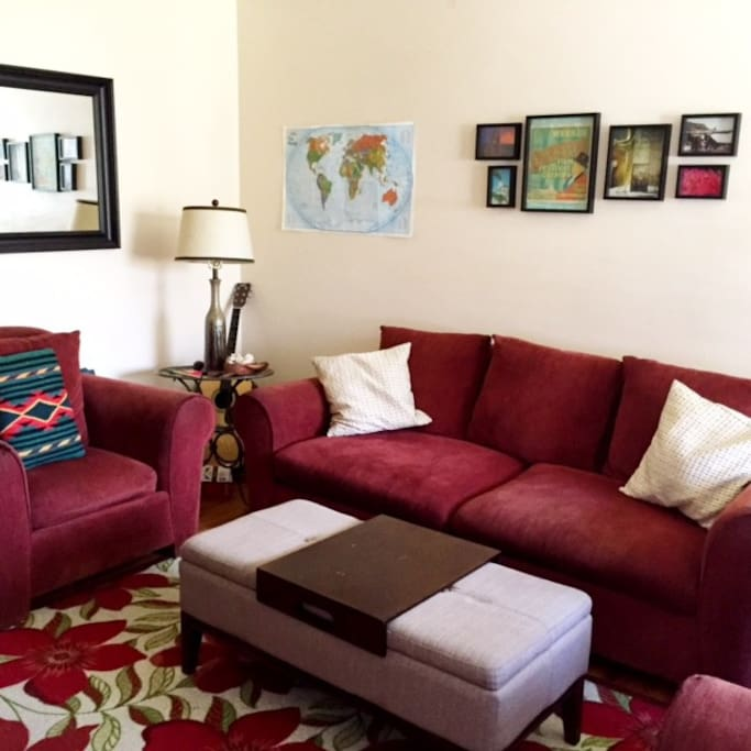 Positive energy in a comfortable living room space to chill, read a good book, or watch a movie.
