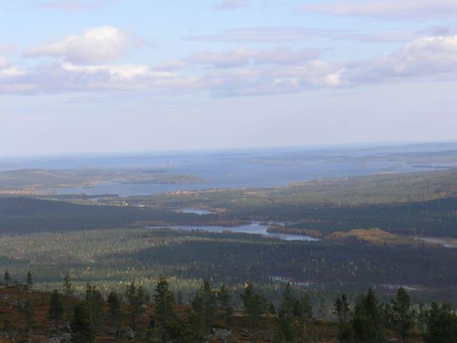 Lake Inari seen from the top of Otsamo