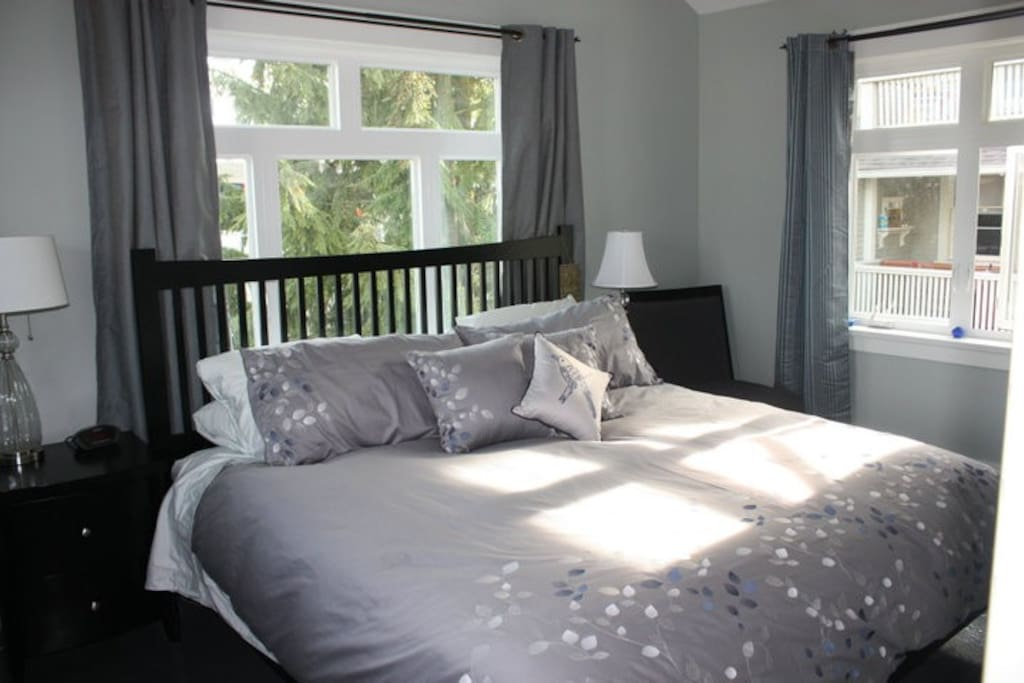 Bright and airy Master Bedroom with king bed and high vaulted ceilings.