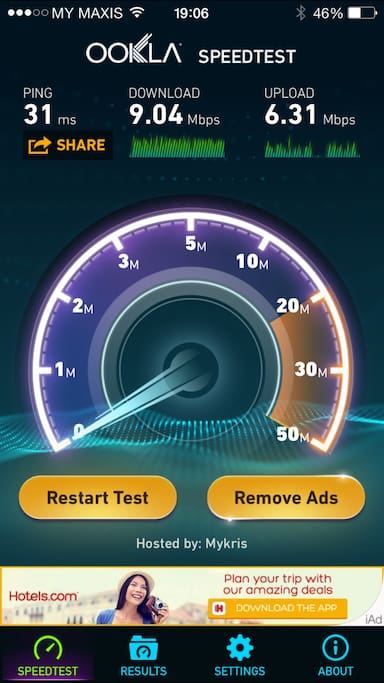 Wifi service provided with speed for upload up to 9.04Mbps and upload upto 6.31mbps