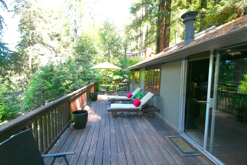 Large deck with plenty of lounging areas