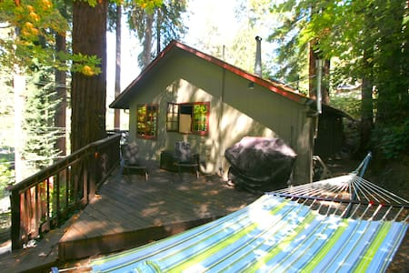 """Stairway to Heaven"" is a wonderful Romantic getaway or a smaller friend family vacation! It has been lovingly cared for and is so inviting.  The skylights bring the out doors in...Grab a lounge chair or the hammock and stare up into the redwoods..."