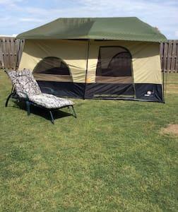 2 room Coleman tent in backyard