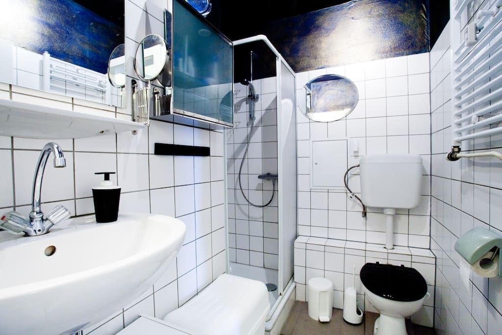 bathroom with a ceiling in navy-blue and gold and SHOWER (TOWELS incl.)