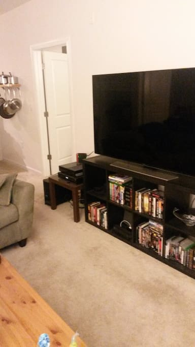 4K, 64 inch television, comfortable living room