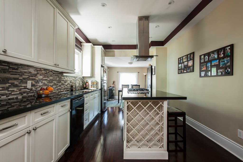Open plan kitchen through to dining room