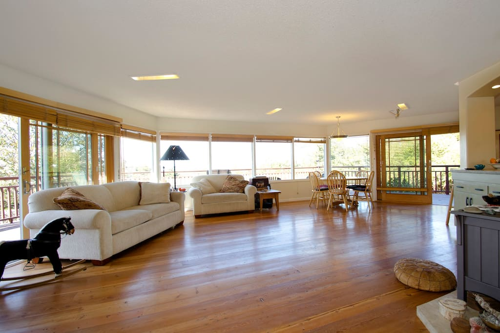 Living room, dancing room, dining room with lots of natural light...