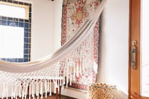 Relax for a sunny afternoon in this fringed hammock. (We can add a queen sized mattress to this room for bookings of 5 or 6 people)