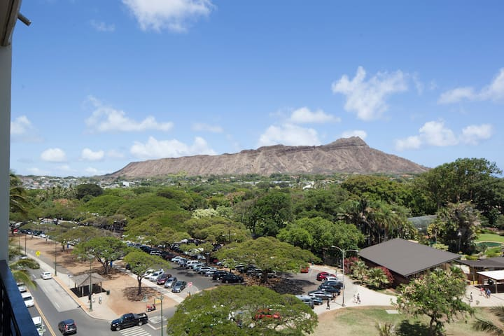 View from private lanai of Diamond Head and zoo