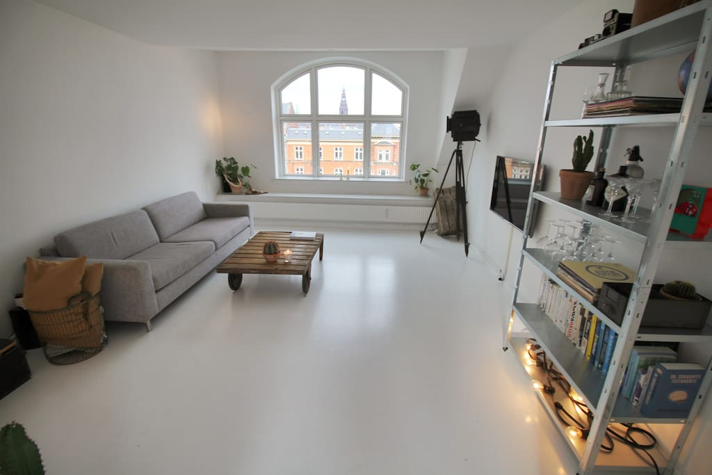 Living room with view to Christiansborg