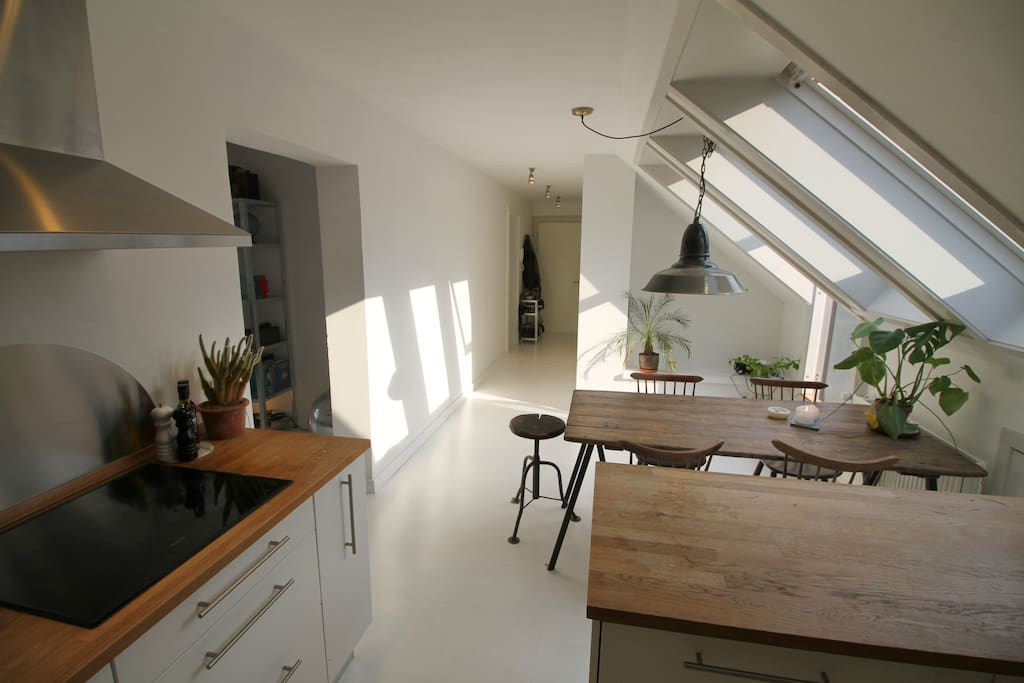Kitchen with door to your private rooftop terrace