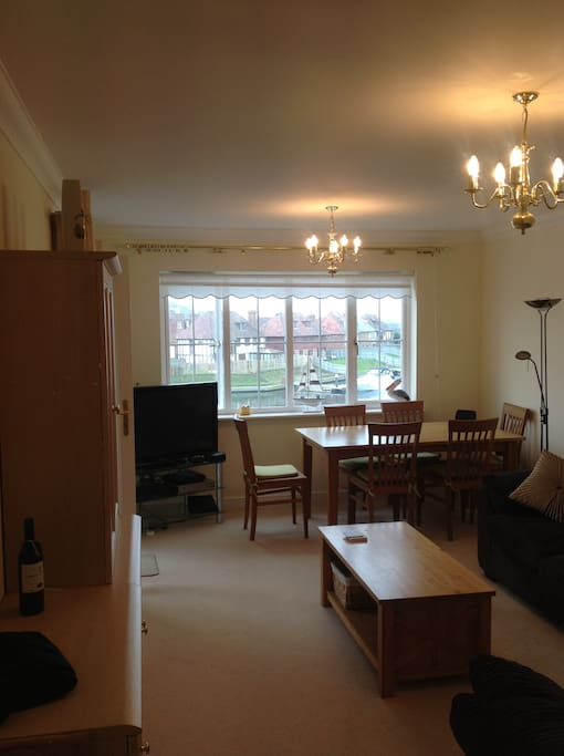 Lounge area has diming table and 2xtwo seater sofas (one sofa bed)