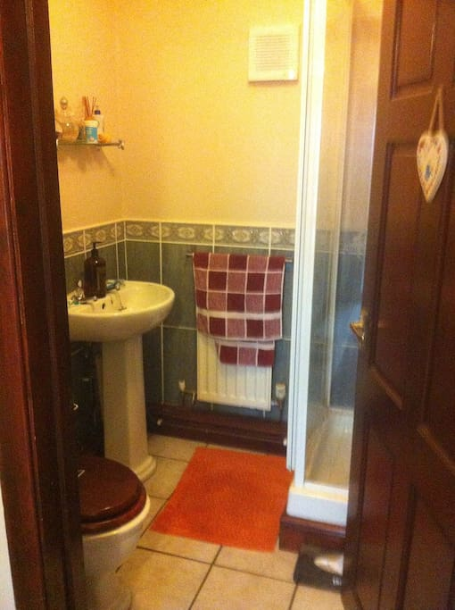 Cloakroom with electric shower next door