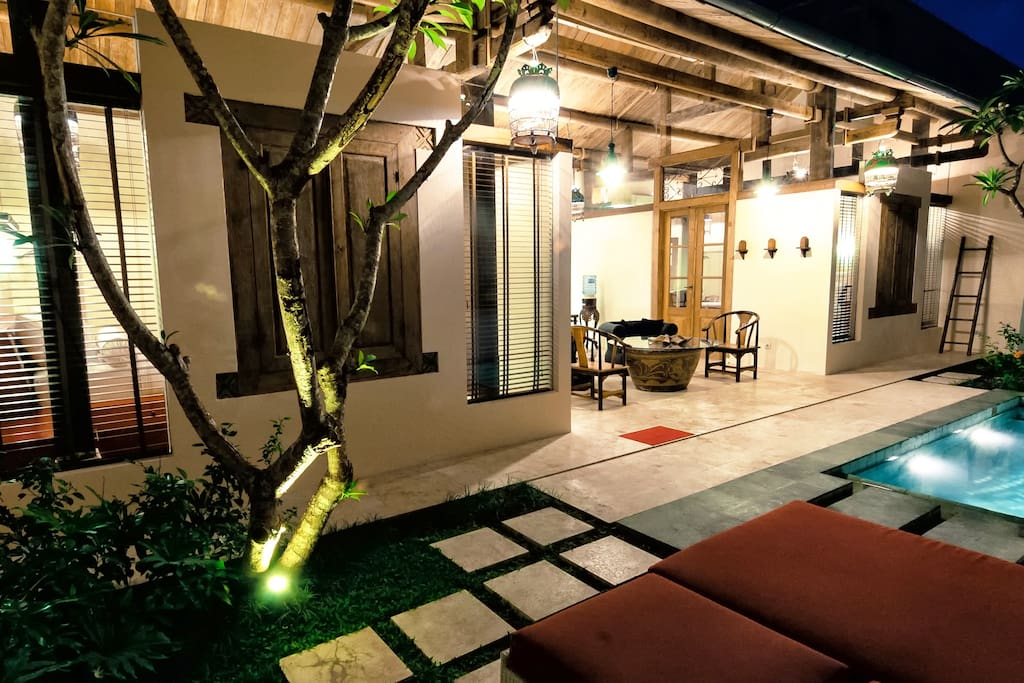 Bali Ginger Villa with private swimming pool, Bedroom 1 to the left, Bedroom 2 to the right. A 3rd bedroom is available at extra charge.