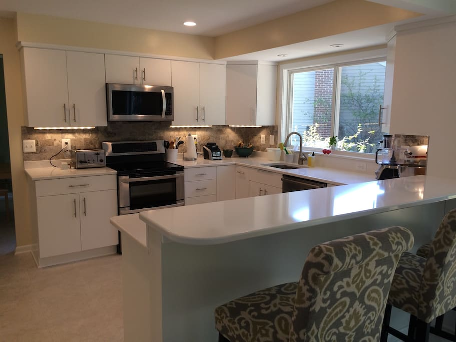 Full access, to gorgeous, brand new, gourmet kitchen.