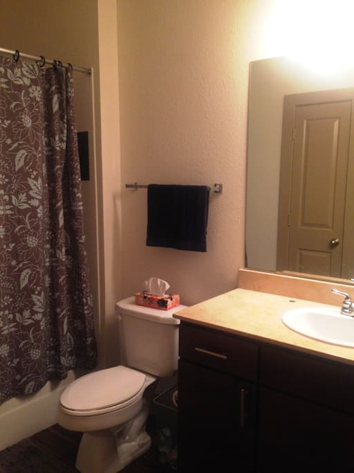 Private bathroom with bathtub for guests.