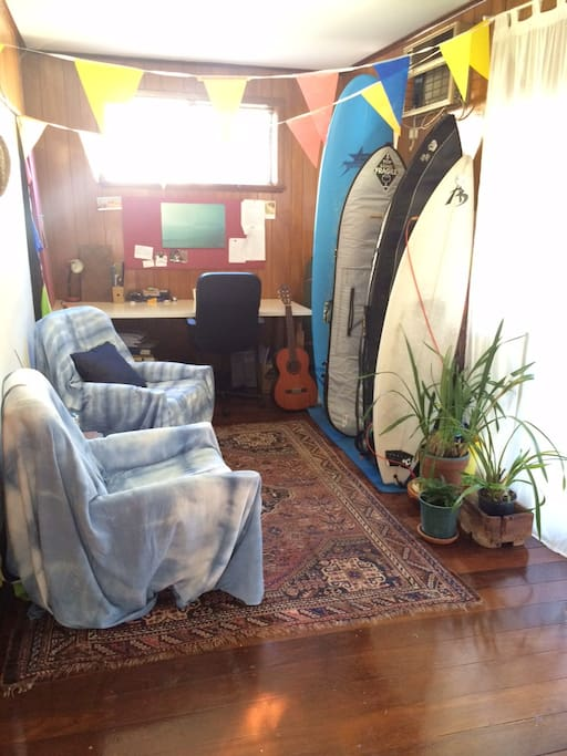 We have a quiet study area you are most welcome to use and surf board which is perfect for beginners or just a bit of fun.