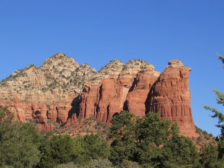 """View of """"Coffeepot Rock"""" from the front yard"""